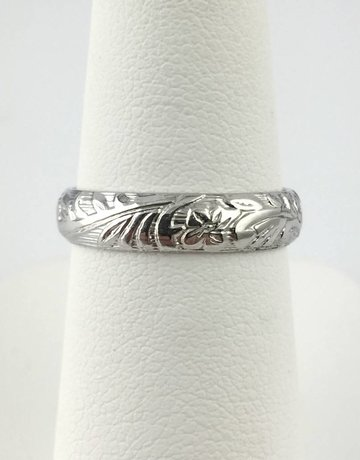 American Jewelry Sterling Silver AJ Floral Band
