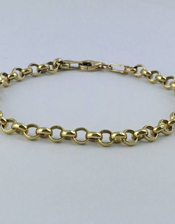 """American Jewelry 14k Yellow Gold Rolo Link Bracelet 7.25"""""""