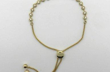 14k Yellow Gold .38ctw Diamond Link Adjustable Bracelet