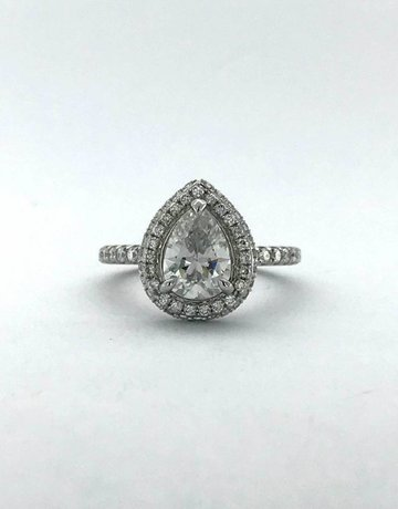 American Jewelry 14k White Gold 2.10ctw (1.38ct E/SI1 GIA Pear) Diamond Double Edge Halo Engagement Ring (Size 6.5)