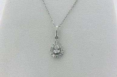 14k White Gold 1/3ctw Pear Diamond Halo Pendant