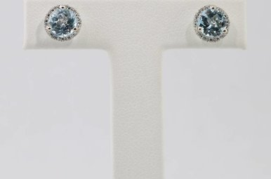 14kw .08ctw-Dia Sky Blue Topaz & Diamond Halo Stud Earrings