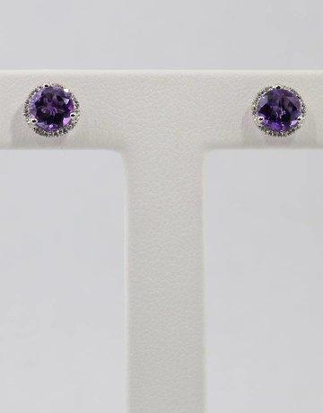 American Jewelry 14k White Gold Round Amethyst & .08ctw Diamond Halo Earrings
