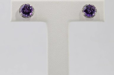 14kw .08ctw-Dia Amethyst & Diamond Halo Stud Earrings