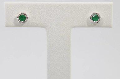 14kw .06ctw-Dia Emerald & Diamond Halo Stud Earrings