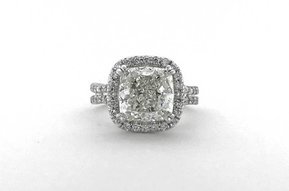 18k White Gold 4.60ctw (4.00ct J/SI1 GIA Cushion) Diamond Halo Engagement Ring (Size 5)