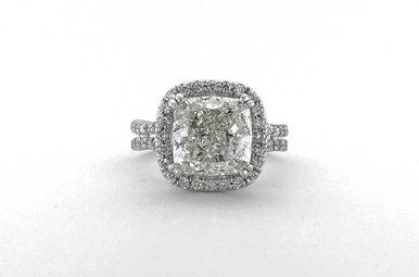 18k White Gold 4.60ctw (4.00ct J/SI1 GIA Cushion) Diamond Halo Engagement Ring (Size 5)