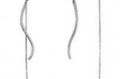 Lafonn Sterling Silver Line Dangle Earrings with Removable Drop Stone 1.40cttw