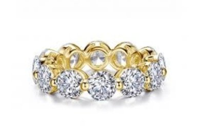 Lafonn Sterling Silver (Yellow Gold Plated) 5.98cttw Stone Eternity Style Ring