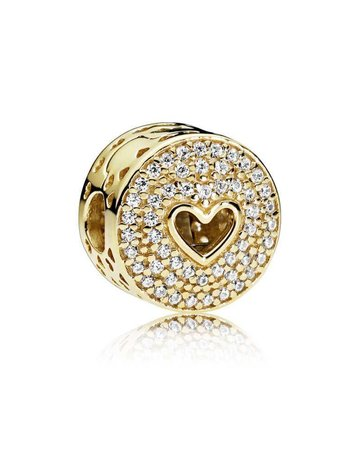 Pandora PANDORA Clip, 14k Heart of Luxury, Clear CZ