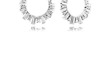 PANDORA Earrings, Glacial Beauty, Clear CZ