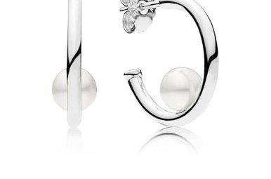 PANDORA Hoop Earrings, Contemporary Pearls