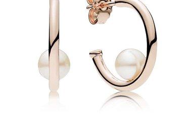 PANDORA Rose Hoop Earrings, Contemporary Pearls