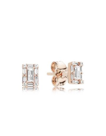 Pandora PANDORA Rose Stud Earrings, Luminous Ice, Clear CZ