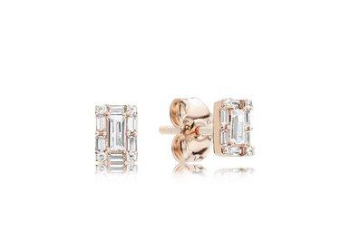 PANDORA Rose Stud Earrings, Luminous Ice, Clear CZ