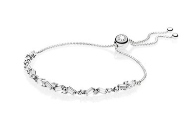 PANDORA Sliding Bracelet, Glacial Beauty, Clear CZ - 23 cm / 9.1 in