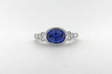 14k White Gold 1.68ct Ceylon Oval Sapphire .08ctw Diamond Bezel Engagement Ring