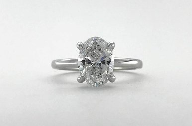 14k White Gold 2.01ct D/SI1 Oval Diamond 4-Prong Solitaire Engagement Ring (Size 6.5)