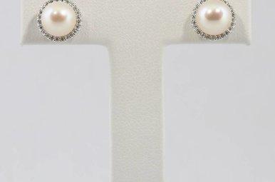 14kw .14ctw 7mm Pearl & Diamond Halo Stud Earrings