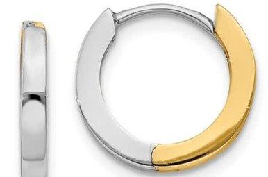 14k Two-Tone 2mm Hinged Hoops Earrings