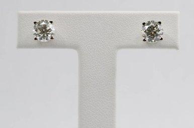 14kw 2.08ctw J-K/SI2 Round Brilliant Diamond Stud Earrings