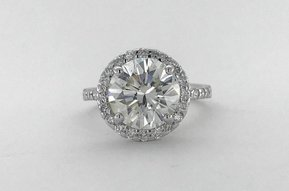 14k White Gold 4.25ct H/SI1 Round Brilliant Cut Diamond Halo Engagement Ring