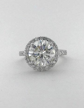 American Jewelry 14k White Gold 4.25ct H/SI1 (EGLUSA502D) Round Brilliant Cut Diamond Halo Engagement Ring