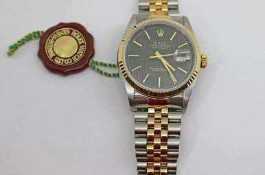 18ky & Stainless Preowned Gents Rolex Datejust, Black Tapestry Dial, Fluted Bezel & Jubilee Band