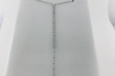 14k White Gold .40ctw Diamond Line Drop Dangle Lariat Necklace Pendant