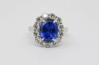 Plat 7.2ct-BS 1.78ctw-Dia Oval Natural Blue Sapphire & Diamond Ladies Halo Ring