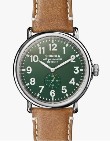 Shinola Shinola 47mm Runwell Green Dial Maple Aniline Latigo Strap