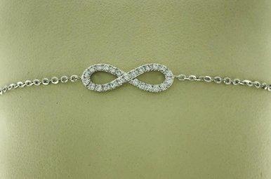 14k White Gold Diamond Infinity Station Adjustable Bracelet