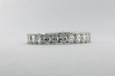 14k White Gold 2.13ctw Oval Diamond Stackable Eternity Band