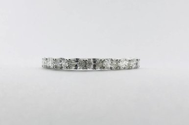 14k White Gold 1.09ctw Diamond Oval Stackable Wedding Band