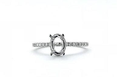 14k White Gold .27ctw Diamond Hidden Halo Engagement Ring Semi Mount