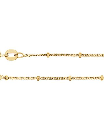 """American Jewelry 14k Yellow Gold 1mm Beaded Station Solid Curb Chain (18"""")"""