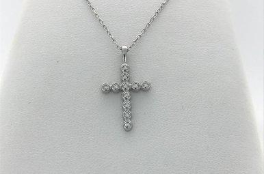 14k White Gold .22ctw Diamond Bezel Cross Pendant Necklace