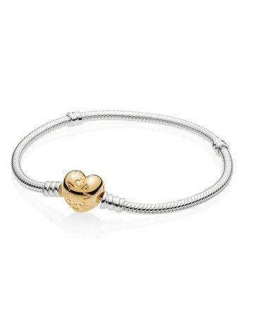 Pandora PANDORA Bracelet, Sterling Silver with Shine Heart Clasp - 19 cm / 7.5 in
