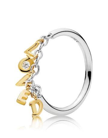 Pandora PANDORA Shine Ring, Loved Script, Clear CZ - Size 54