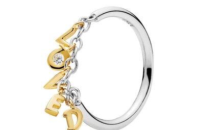 PANDORA Shine Ring, Loved Script, Clear CZ - Size 50