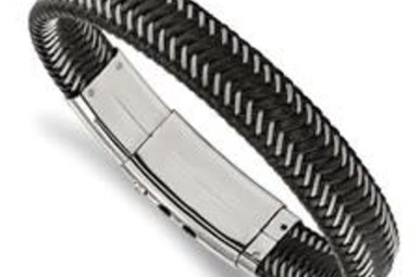 "Gents 8-8.5"" Woven Black Leather & Wire Bracelet with Adjustable Stainless Steel Clasp"