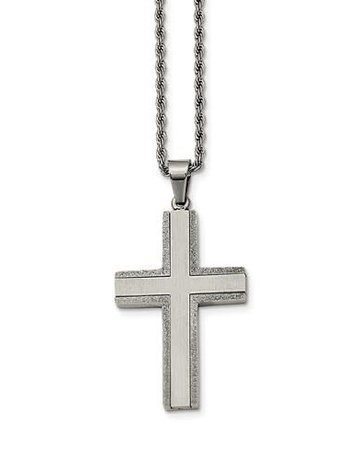 "American Jewelry Stainless Steel Gents Cross Necklace with Laser Cut Edges (24"" Chain)"