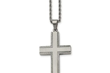 """Gents 24"""" Stainless Steel Cross Necklace with Laser Cut Edges"""