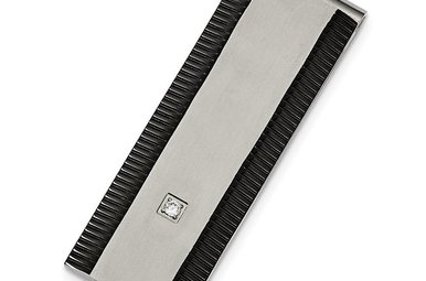 Gents Brushed Stainless Steel & Black IP Plated Money Clip with CZ Accent