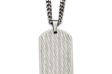 """Gents 24"""" Stainless Steel Textured Dog Tag Necklace"""