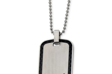 """Gents 24"""" Stainless Steel & Carbon Fiber Inlay Dog Tag Necklace With Diamond Accent"""