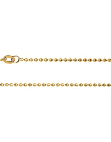 "American Jewelry 14k Yellow Gold 1mm Solid Bead Chain (18"")"