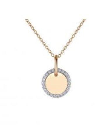 Lafonn Lafonn Sterling Silver (Yellow Gold Toned) .23cttw Medallion Pendant Necklace
