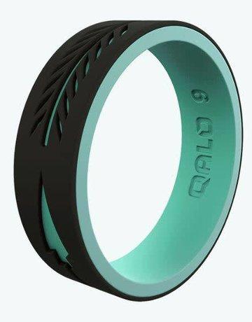 QALO QALO Silicone Women's Strata Black and Aqua Arrow Ring (size 7)