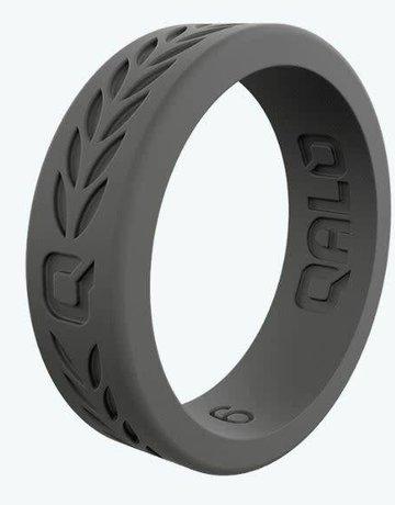 QALO QALO Silicone Women's Charcoal Grey Laurel Pattern Ring (size 5)
